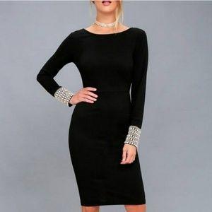 Lulu's Embellished Long Sleeve Bodycon Midi Dress